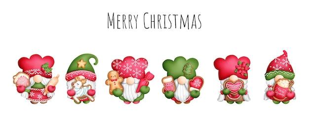 Digital painting watercolor christmas gnome cookies banner.