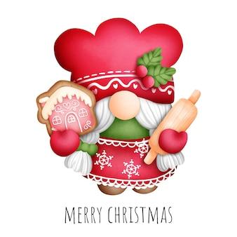 Цифровая живопись акварель рождество гном печенье islolated на белом фоне