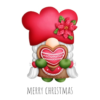 Цифровая живопись акварель рождественский гном печенье islolated на белом фоне.