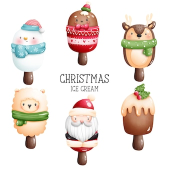 Digital painting watercolor christmas ice cream with winter animal.