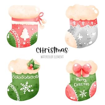 Digital painting watercolor christmas sock. christmas element vector.