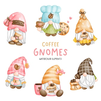 Digital painting watercolor coffee gnomes elements