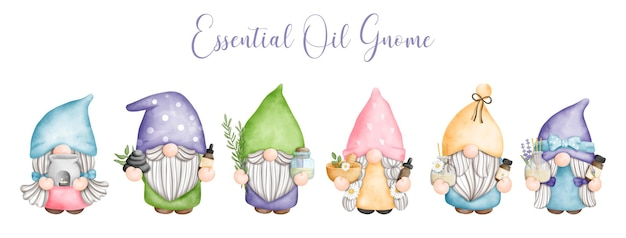 Digital painting watercolor essential oil with gnome spa day with gnome banner