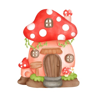 Digital painting watercolor gnome house little house vector illustration