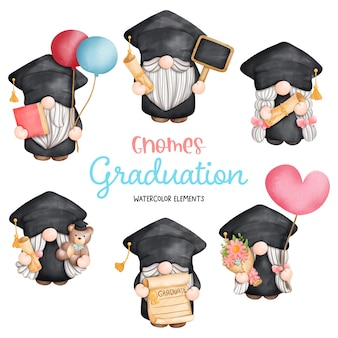 Digital painting watercolor graduation gnomes elements