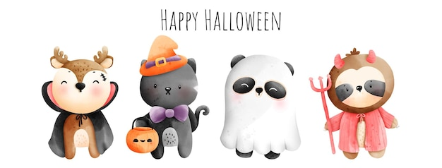 Digital painting watercolor happy halloween with cute animal in halloween costume