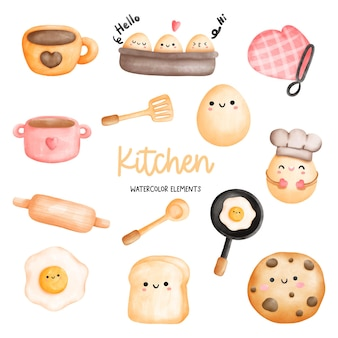 Digital painting watercolor kitchen kitchen utensils elements