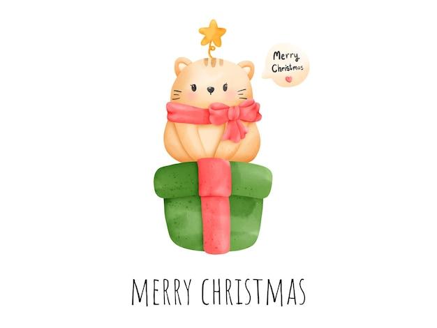 デジタル絵画水彩meowyクリスマスカード。クリスマスの猫のベクトル。