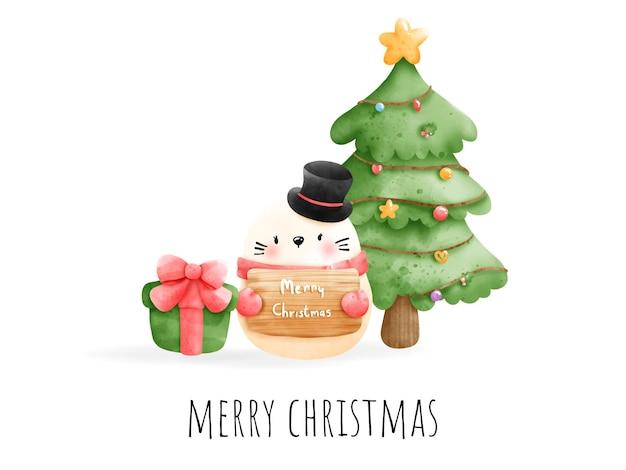 デジタル絵画水彩meowyクリスマスカード。花の花輪のベクトルを持つクリスマス猫。