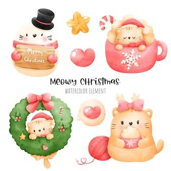 Цифровая живопись акварель мяуи рождественский элемент. рождественский кот вектор. Premium векторы