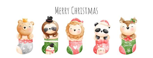 Цифровая живопись акварель счастливого рождества баннер, рождественский вектор животных.