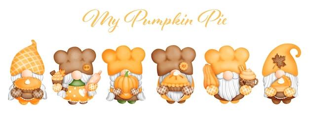 Digital painting watercolor pumpkin pie gnome banner vector illustration