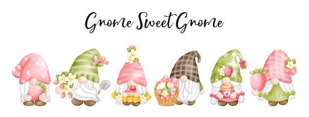 Digital painting watercolor strawberry gnomes,  gnome sweet gnome