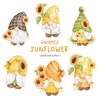 Digital painting watercolor sunflower gnome.