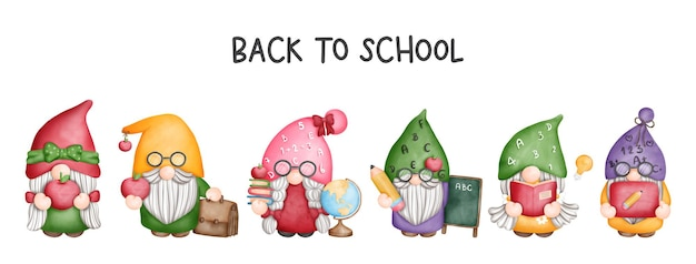 Digital painting watercolor teacher gnome banner back to school gnome