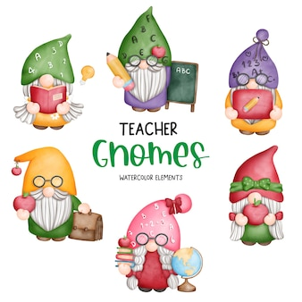 Digital painting watercolor teacher gnome elements back to school gnome