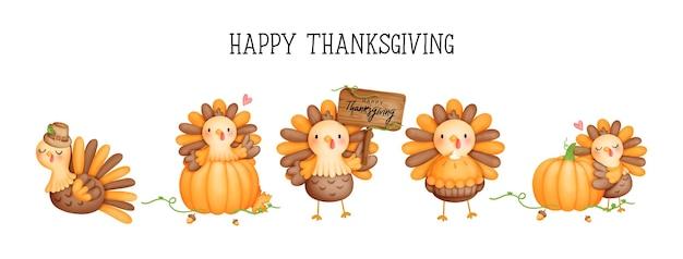 デジタル絵画水彩画感謝祭の七面鳥、かわいい七面鳥のバナー、感謝祭のカード。