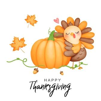 Digital painting watercolor thanksgiving turkey cute turkey