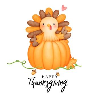 Digital painting watercolor thanksgiving