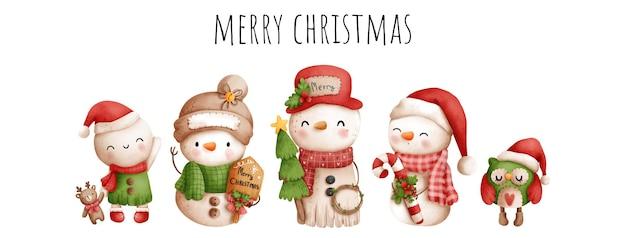 Цифровая живопись акварель старинный снеговик. с рождеством, векторные иллюстрации