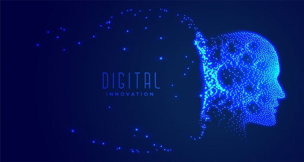 Digital partical face artificial intelligence concept