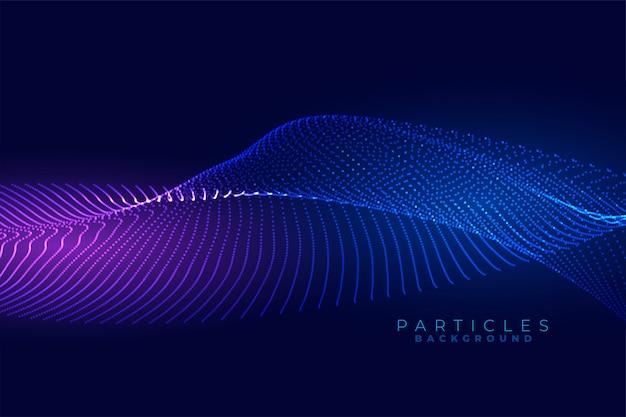 Цифровая частица течет волна технологии фона дизайн