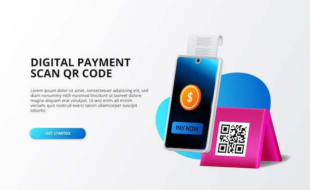 Digital payment, cashless concept. pay with phone and scan qr code, digital banking and money 3d illustration concept for landing page template