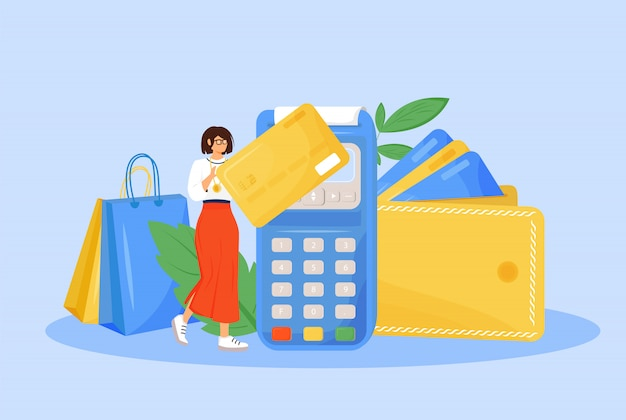 Digital payment  concept  illustration. woman paying with credit card  cartoon character for web design. e payment system, modern financial technology, cashless payment creative idea