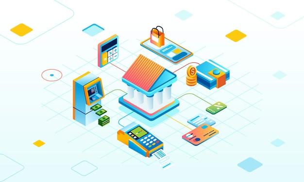 아이소메트릭 그림에서 디지털 지불 서비스 네트워크 은행 atm 동전 카드 돈