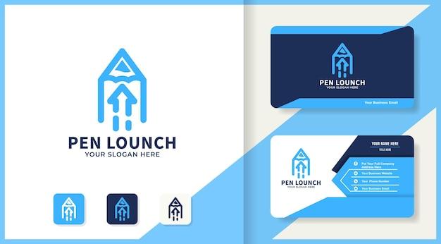 Цифровая ручка стрелка дизайн логотипа и визитная карточка