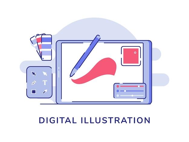 Рисование цифровым пером на вкладке рядом с палитрой панели инструментов