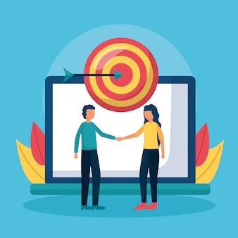 Digital people handshake