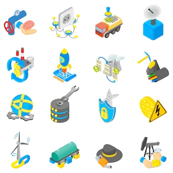 Digital petroleum icons set, isometric style
