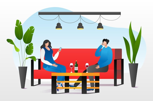 Digital phone addiction at couple concept vector illustration man woman character use phone at date ...