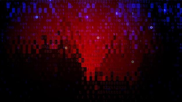 Цифровой пиксельный экран темно-красный фон. концепция киберпреступности