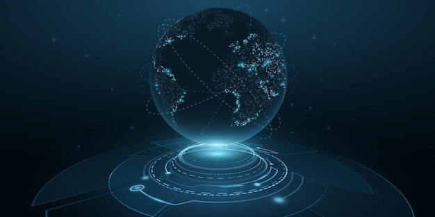 Digital planet earth with hud interface. globe hologram. 3d futuristic dot world map in cyberspace with light effects. technology background design. vector illustration. eps 10