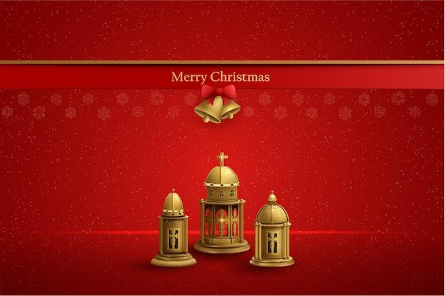 Digital postcard design for christmas with three gold church lanterns