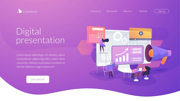 Digital presentation landing page template