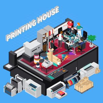 Digital print house with latest technology ers team providing solutions for customers projects isometric composition