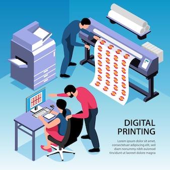 Цифровая печать изометрическая иллюстрация с офисным персоналом, работающим над копировальным и полиграфическим оборудованием