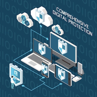 Digital privacy personal data protection isometric composition