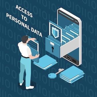 Цифровая конфиденциальность защита персональных данных изометрическая композиция