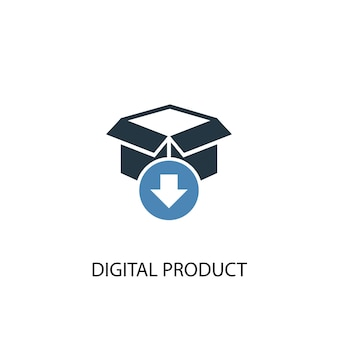 디지털 제품 개념 2 컬러 아이콘입니다. 간단한 파란색 요소 그림입니다. 디지털 제품 개념 기호 디자인입니다. 웹 및 모바일 ui/ux에 사용 가능