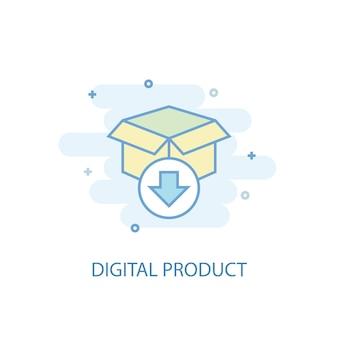 디지털 제품 라인 개념입니다. 간단한 라인 아이콘, 컬러 그림입니다. 디지털 제품 기호 평면 디자인입니다. ui/ux에 사용할 수 있습니다.