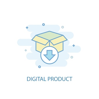 Digital product line concept. simple line icon, colored illustration. digital product symbol flat design. can be used for ui/ux