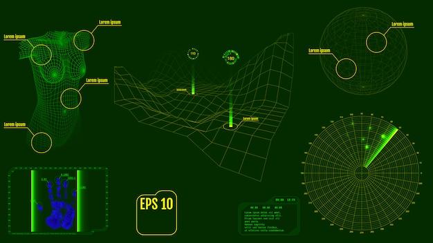 Цифровой радар с целями на мониторе