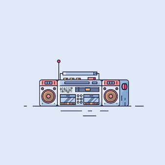 Digital radio flat design ilustrations