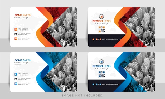 Digital red orange with blue gradient corporate business card