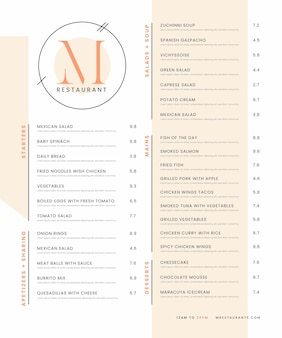 Digital restaurant menu design
