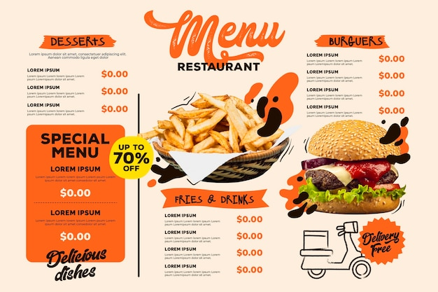 Digital restaurant menu horizontal format template with burger and fries